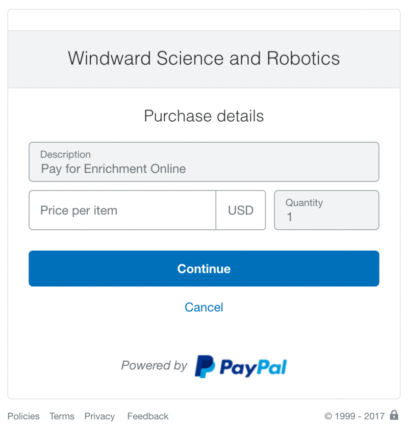 Example of PayPal Site